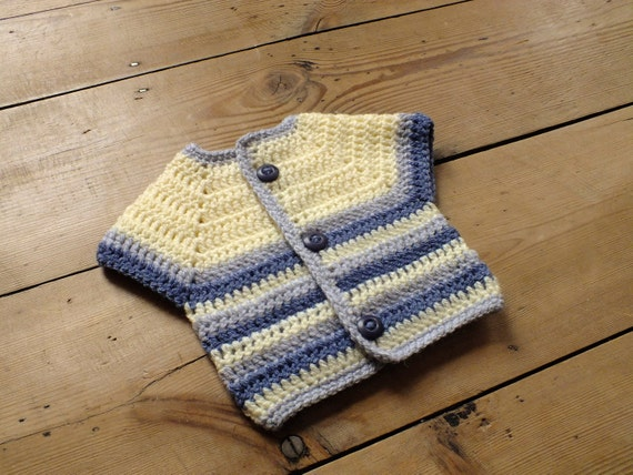 Crochet Short Sleeve Kimono Style Cardigan for Baby 0 to 6 months in Blue and Cream