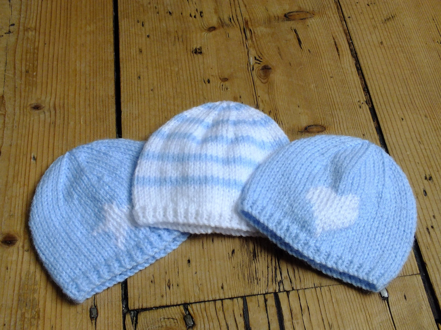 Premature Baby Hat Blue And White Stripe Knitted Beanie For