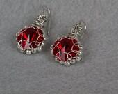 Red Crystal Rivoli Earrings