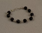 Blue Goldstone Bracelet with Black Glass Beads