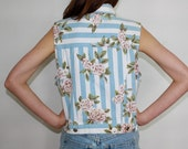 Vintage 80's Light Blue and White Striped Denim Vest With Roses / Floral Print Sleeveless Button-Up Jean Jacket
