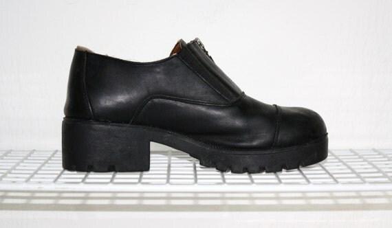 Vintage 90's Harley Davidson Black Leather Zip Up Clogs / 1990's Women's Biker Grunge Chunky Heel Boot / US 10.5  / UK 8 / EUR 43