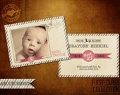 5x7 Vintage Birth Announcement Template, First-Class Collection Baby (I)