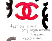 Coco Chanel Quote and Illustration (Print)