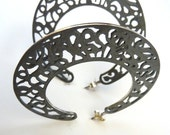 Sterling Silver Large Earrings Hoops- Slender Filigree Hoops- Black & White Earrings- Special gift for Her