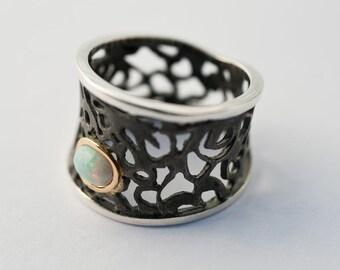 Handmade  Opal Ring - Designer ring - Filigree ring - oxidized Sterling Silver, Gold -
