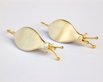 Flower Sterling Silver & 18k Gold earrings,Art nouveau dangles, statement earrings, Spring celebrations, OOAK Gift for Her