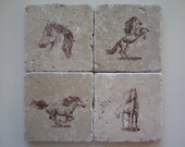 Coaster - 4x4 Travertine Tile - Horses