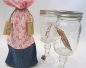 Wine Bag -- Pink & White Ribbon/Jean
