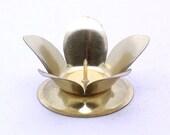 Vintage Brass Petal Candle Holder