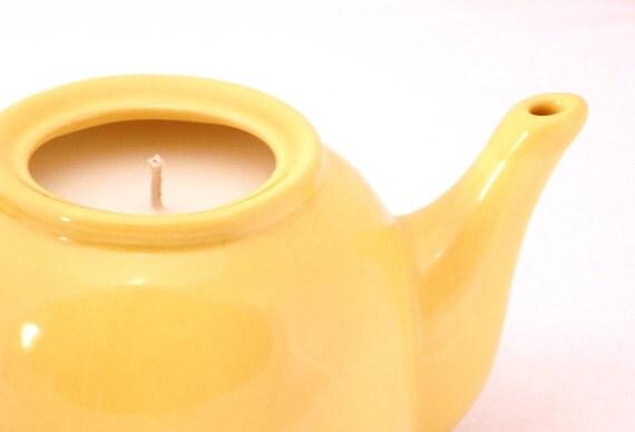 Vintage Retro Yellow Teapot Candle