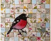Scarlet Robin Lino Print Collage - OOAK - Australian Native Bird
