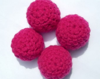 Hot Pink Cat Toy, Crochet Catnip Ball, set of 4