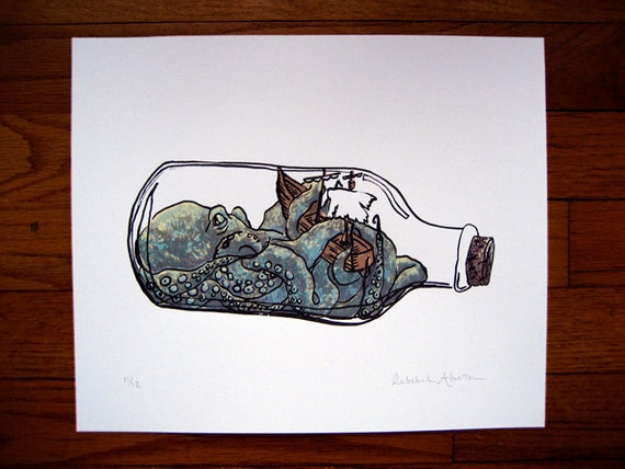 Screenprint, Octopus in a bottle