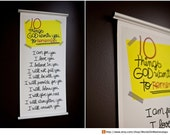 10 Things GOD Wants Us to Remember -  12x24 CANVAS Print with unique aluminum hangers - Perfect for Gifting