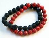 Funky red and black stretchy bracelet - Matt black bian stone and watermelon howlite gemstone linked stretchy bracelet
