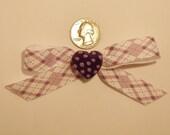 Purple Argyle Bow and Polkadot Heart Hair Clip