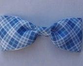 Blue Argyle Bow Hair Barrette