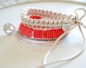 Stacked Bracelets set of four - Coral wood bracelet, metal bracelets with peace charm and beige macrame bracelet - Black Orchid