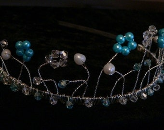 Tiara  - Turquoise and White Pearl and Crystal Design