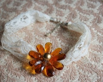 Glass Beaded Flower and Lace choker necklace
