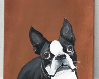 Just Love Me - Boston Terrier Portrait/Acrylic on canvas