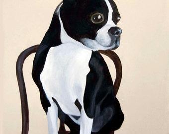 Trevor - Boston Terrier Portrait/Acrylic on canvas
