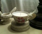 RESERVED LISTING for Tori - Cherry Blossom Teacup Candle in Almond Brulee