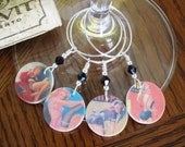 Pin Ups (Set of Four) Wine Glass Charms