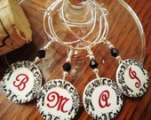 Monogrammed in Black and White Damask Wine Glass Charms - Set of Four