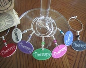 Therapy - Set of Seven Wine Glass Charms
