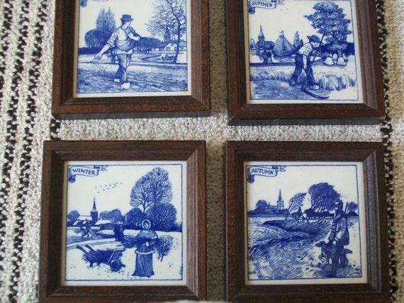 Four Seasons Dutch Blue Delft Tiles