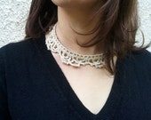 Lace jewelry, bridal crochet collar necklace OOAK beautiful lace choker for bride for the perfect rustic wedding
