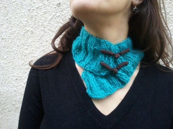 Cyber monday etsy sale - 30%off Fashion trend Turquoise neck warmer with Chinese buttons OOAK