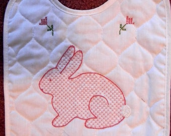 Embroidered Baby Bib Pink Bunny