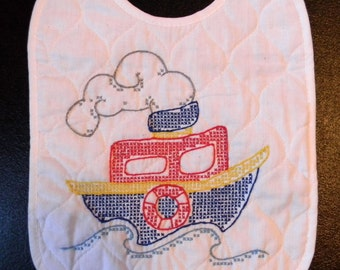 Embroidered Baby Bib- Boat