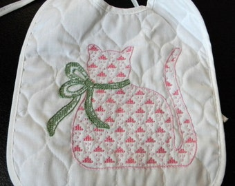 Embroidered Baby Bib Pink Cat