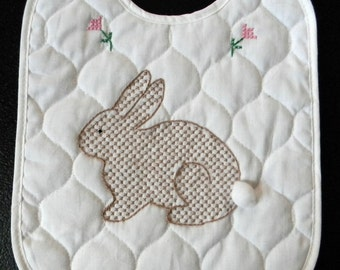 Embroidered Baby Bib Brown Bunny