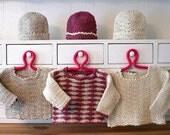 Making Waves Baby Sweater & Hat Set - 12 month size design sample