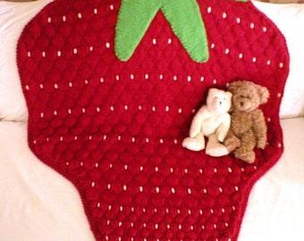 Knitting Pattern-Strawberry Baby Blanket, knit baby blanket pattern, knit throw pattern, toddler, afghan, fruit, Eco+, PDF pattern