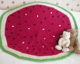 Knitting Pattern-Watermelon Baby Blanket, knit baby blanket pattern, knit afghan pattern, watermelon, fruit, Cascade Eco+, PDF pattern