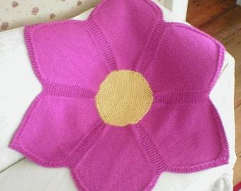 Knitting Pattern-Flower Baby Blanket, knit pink baby blanket pattern, knit flower pattern, infant, toddler, girl's, Eco+, PDF pattern