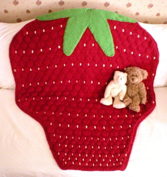 Strawberry Leaf Knitting Pattern : Knitting Pattern-Strawberry Baby Blanket, knit baby ...