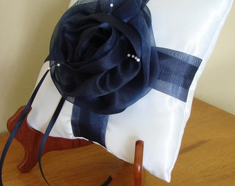 Wedding Ring Bearer Pillow, Dark Blue Organza Rose w/Small Pearls, Something Blue