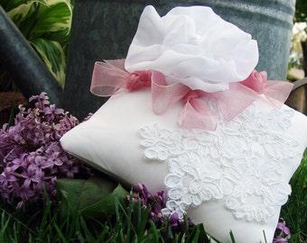 Romantic Wedding Ring Bearer Pillow, Antique Alencon Lace, Vintage Fabric, Bride, Tulle