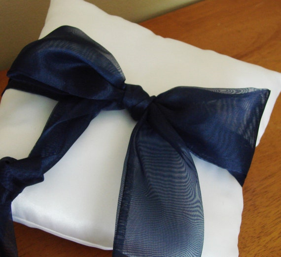 White Satin Ring Bearer Pillow With Large Organza Bow