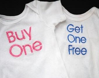 twins set buy one get one free monogrammed onesies boy girl