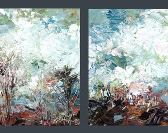 New England Landscape Diptych No.1 original oil paintings, two 18x18inches