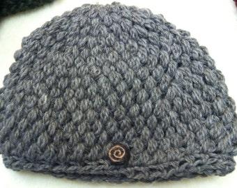 Crochet Wool Grey Hat
