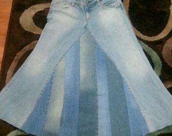 Panneled jean skirt